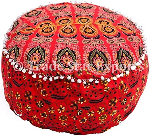 Decorative Foot Stool Large Cushion Seating Hippie Floor Cushion Cover Ottoman Rug Pouf Boho Pouf Ottoman Cover Pattern 1 Bohemian Decor Pouf Trade Star Exports Indian Round Pouf Cover