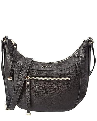 d0617ab06326 FURLA Ginevra Pebbled Leather Crossbody Bag (ONYX (Black))  Amazon.co.uk   Shoes   Bags