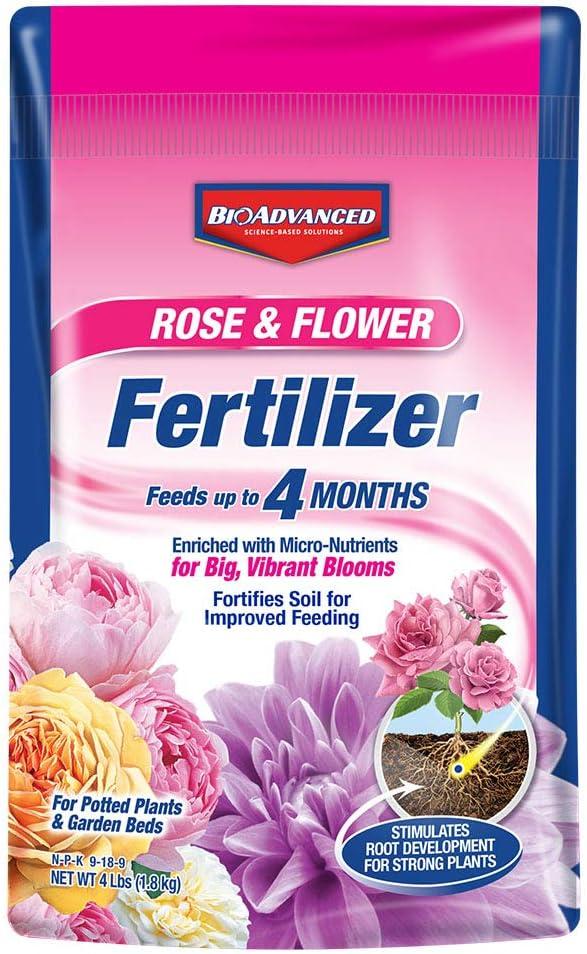 BioAdvanced 100532525 Bayer Rose & Flower Fertilizer Granules, 4 lb, White
