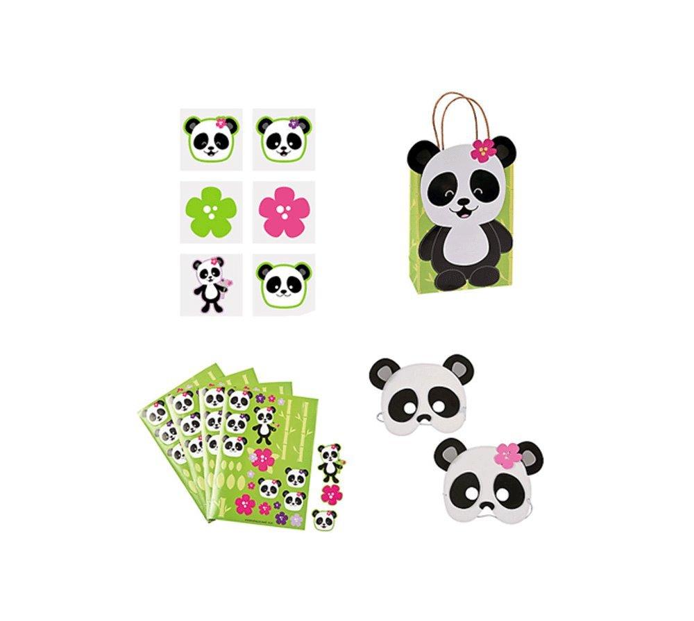 Panda Theme Party Set for 12 Children, 12 Foam Panda Masks, 12 Panda Party Sticker Sheets, 12 Paper Panda Gift Bags and 36 Panda Tattoos (Bundle of 4)