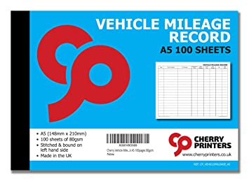 cherry vehicle mileage record log book a5 100pages 80gsm amazon co