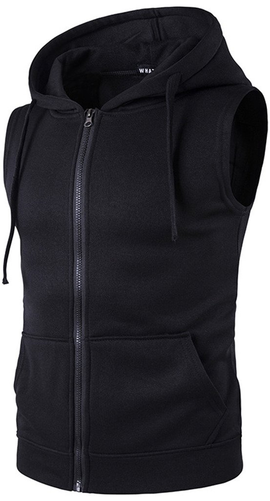 WHATLEES Mens Solid Sleeveless Zip up Fitness Hoodie Shirt Vest with Pockets B424-Black-S by WHATLEES