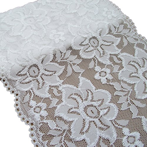 3 Yards 5-7/8 Inches Wide Stretchy Lace Trims Elastic Fabric For Garment And DIY Craft Supply (White)