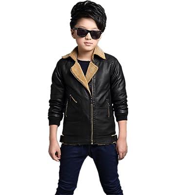 Boys Faux Leather Biker Motorcycle Jacket Warm Fleece Lapel Zipper Coat