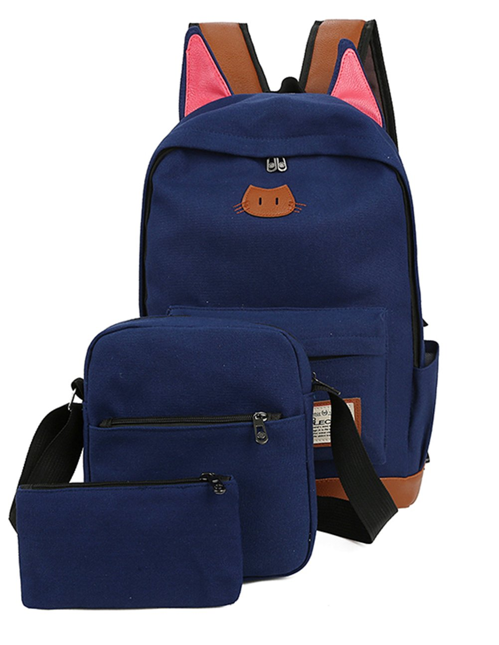 Moolecole Super Cute Cat Ears School Backpack Bag with Shoulder Bag   Pencil  Case Pounch, f3cad5eed3
