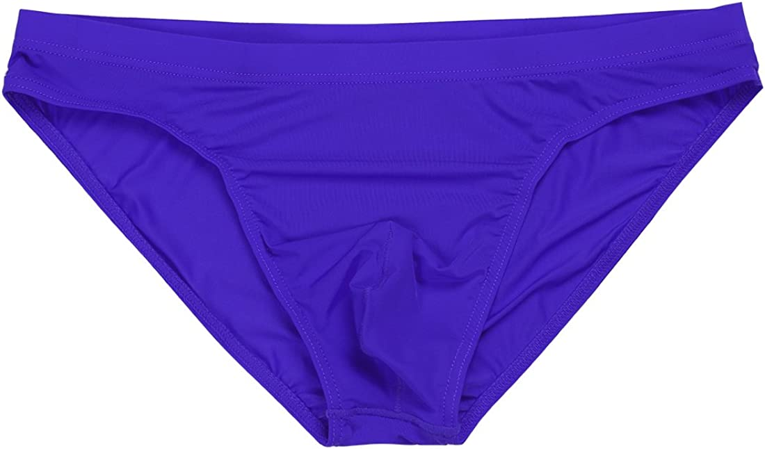 dPois Men Ice Silk Bikini Briefs Breathable Stretchy Low Rise Bulge Pouch Thong Underwear