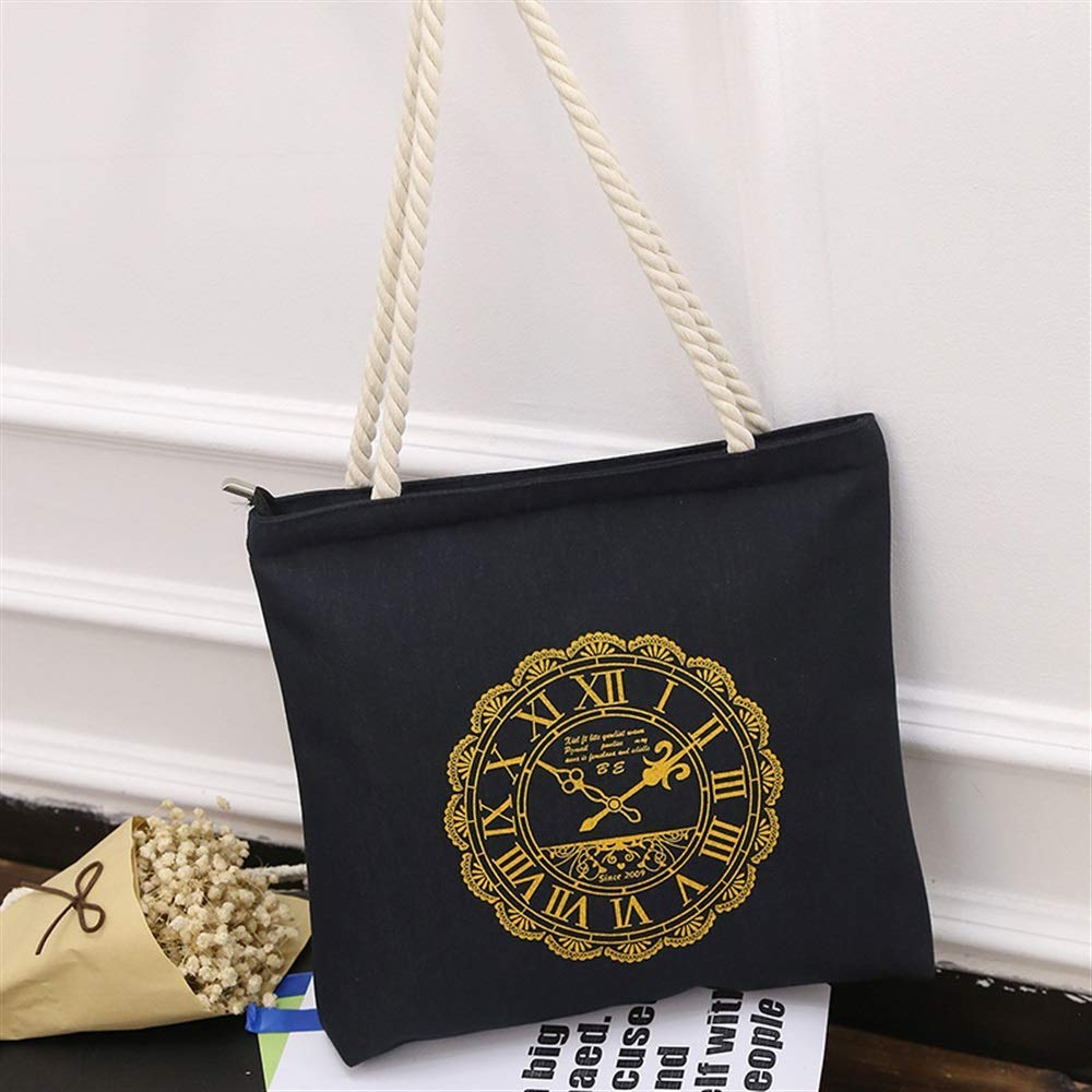 WHXYAA Clock Printed Canvas Bag Shoulder Bag Tote Bag Ladies Large-Capacity Shopping Bag (Black) Simple Atmosphere