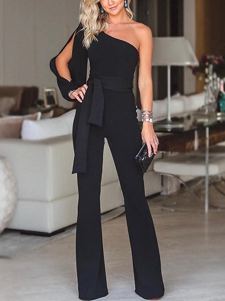 5c46d86b07ba8 Ivrose Women One Shoulder Slit Sleeve Wide Leg Pants Jumpsuits Playsuits