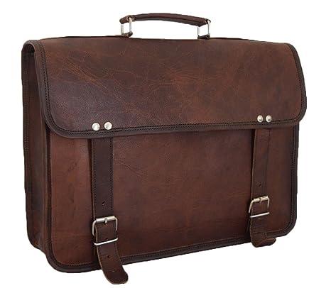 Leather Computer Bag Men/'s Shoulder Laptop Women Messenger Briefcase Vintage
