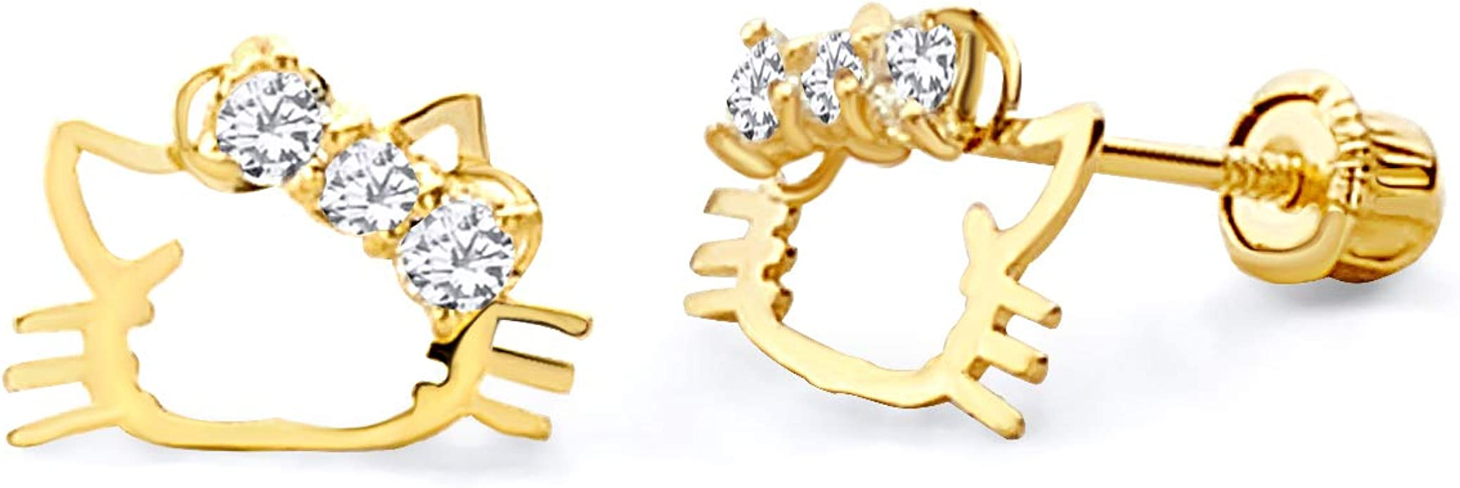 Wellingsale 14K Yellow Gold Polished Cat Stud Earrings With Screw Back