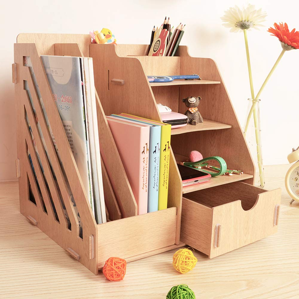 Wooden DIY Assemble Desktop Organizer 4 Tiers Shelf Organizer with Drawer Tabletop File Organizer Multi Functional Desk Stand Shelf in Home Office