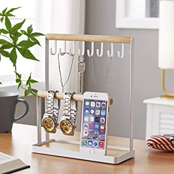 Jewelry Tree Stand Organizer 3in1 Necklace Organizer Display Bracelet Earrings And Ring Tray Jewelry Organizer Holder Hanger Metal by Hom Ring