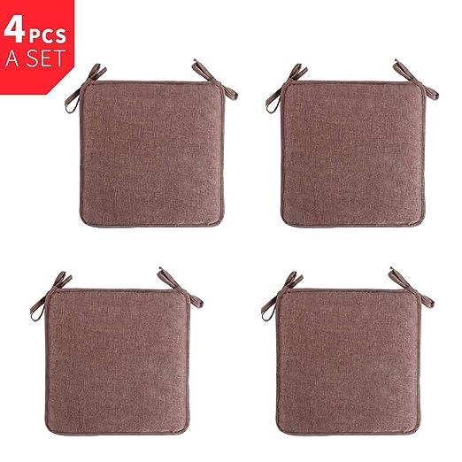 Luzoeo Cojines para Silla de Cuadros Suave y Extraíble Almohadillas para Sillas para Comedor Oficina Jardín 40 cm x 40 cm