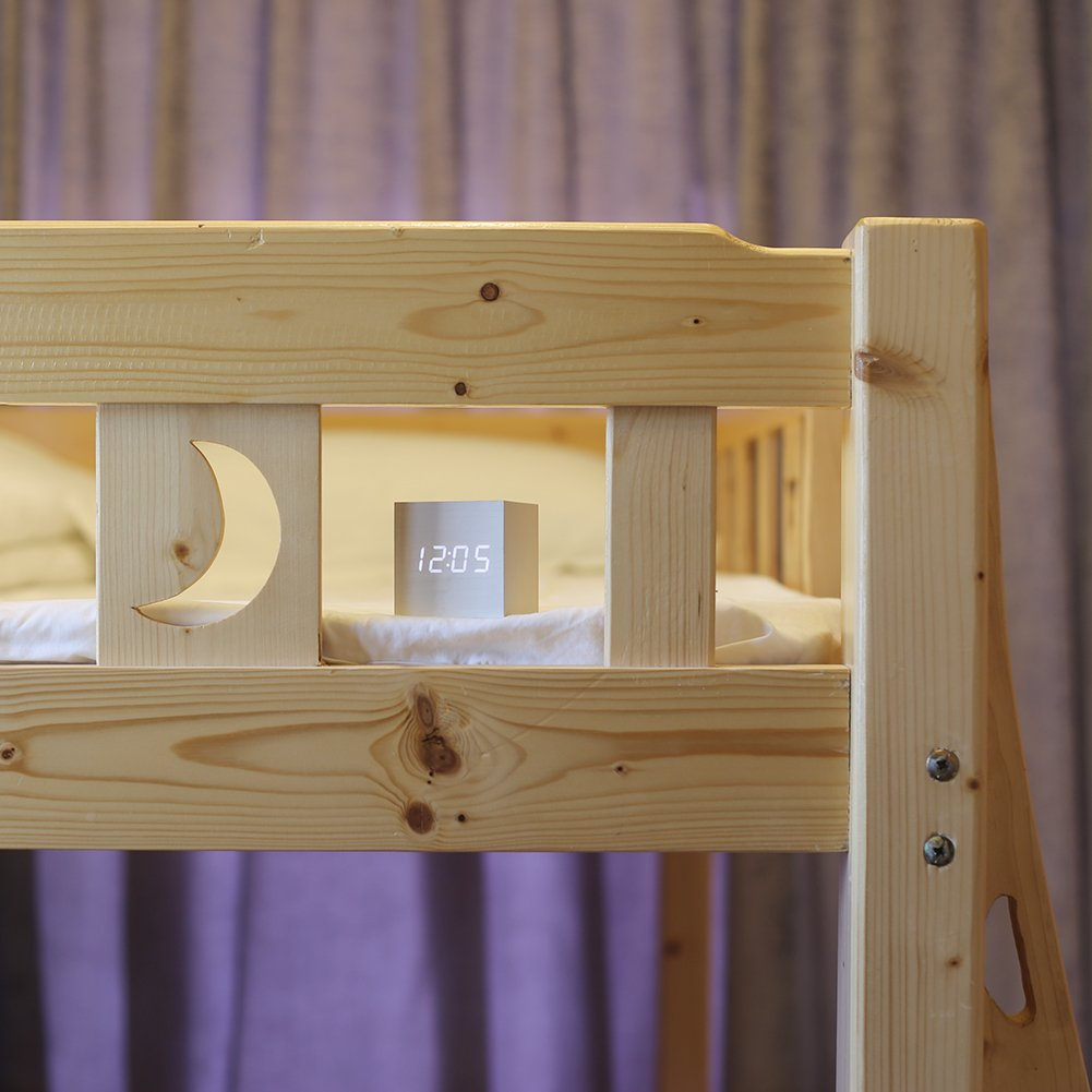 Wood Alarm Clock Digital LED Light Minimalist Mini Cube with Date and Temperature for Travel Kids Bedroom-White by WulaWindy (Image #3)