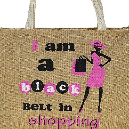 Iuta multiuso shopping bag con cerniera chiusura superiore - Graphic impermeabile Tote Bag