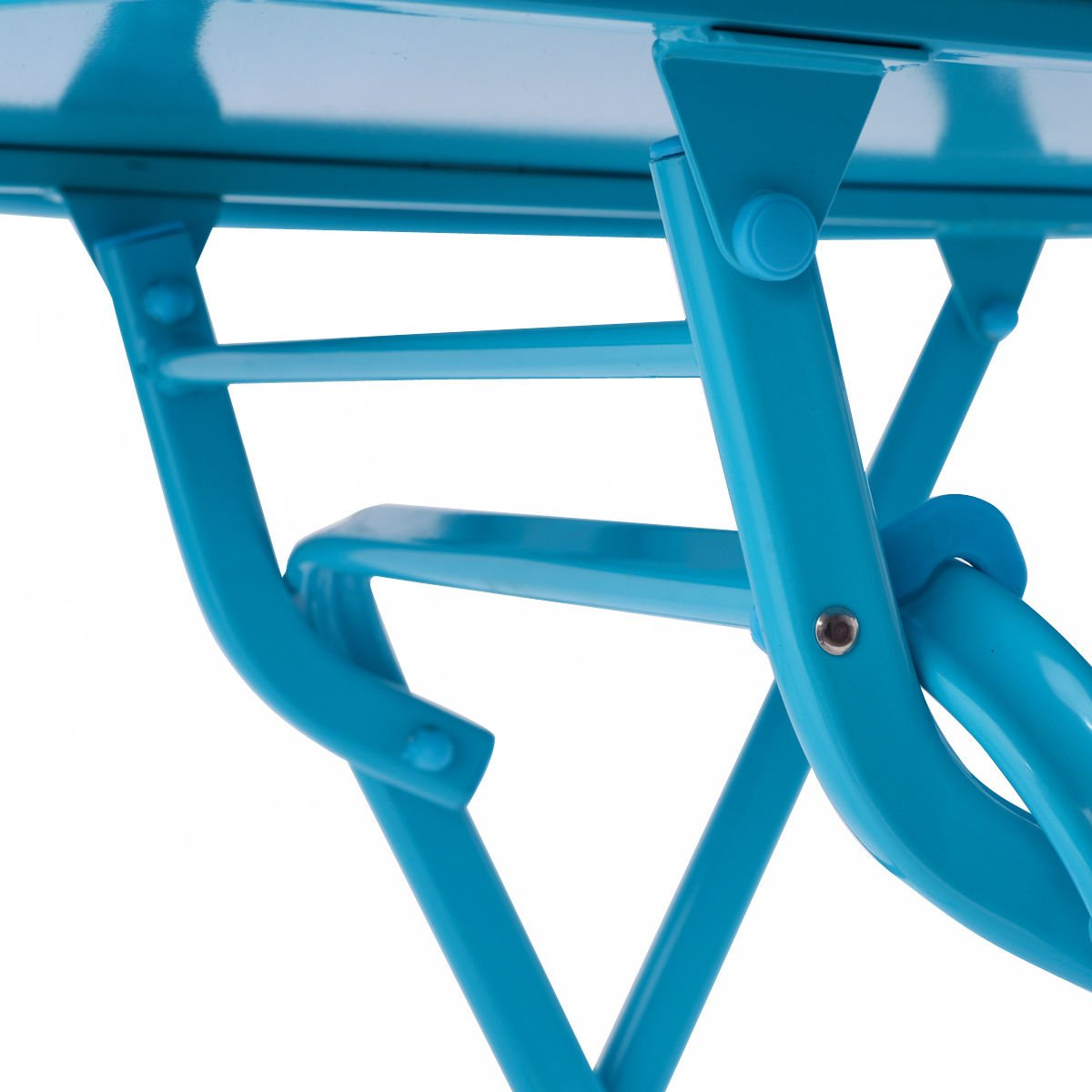 3 Pcs. Blue Table Chair Set Foldable Outdoor Patio Garden Pool Metal Furniture by Allblessings (Image #8)