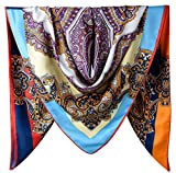 40' Women Twill Satin Polyester Silk Feeling Square Hair Wrapping Sleeping Square Scarfs Purple Heart Oxford Blue Colorful Totem Pattern