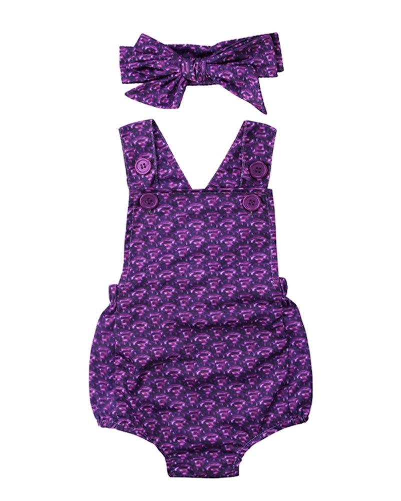 Calsunbaby Baby Girls Baby Girl Mermaid Fish Stretch Purple Romper Swimsuit Headband