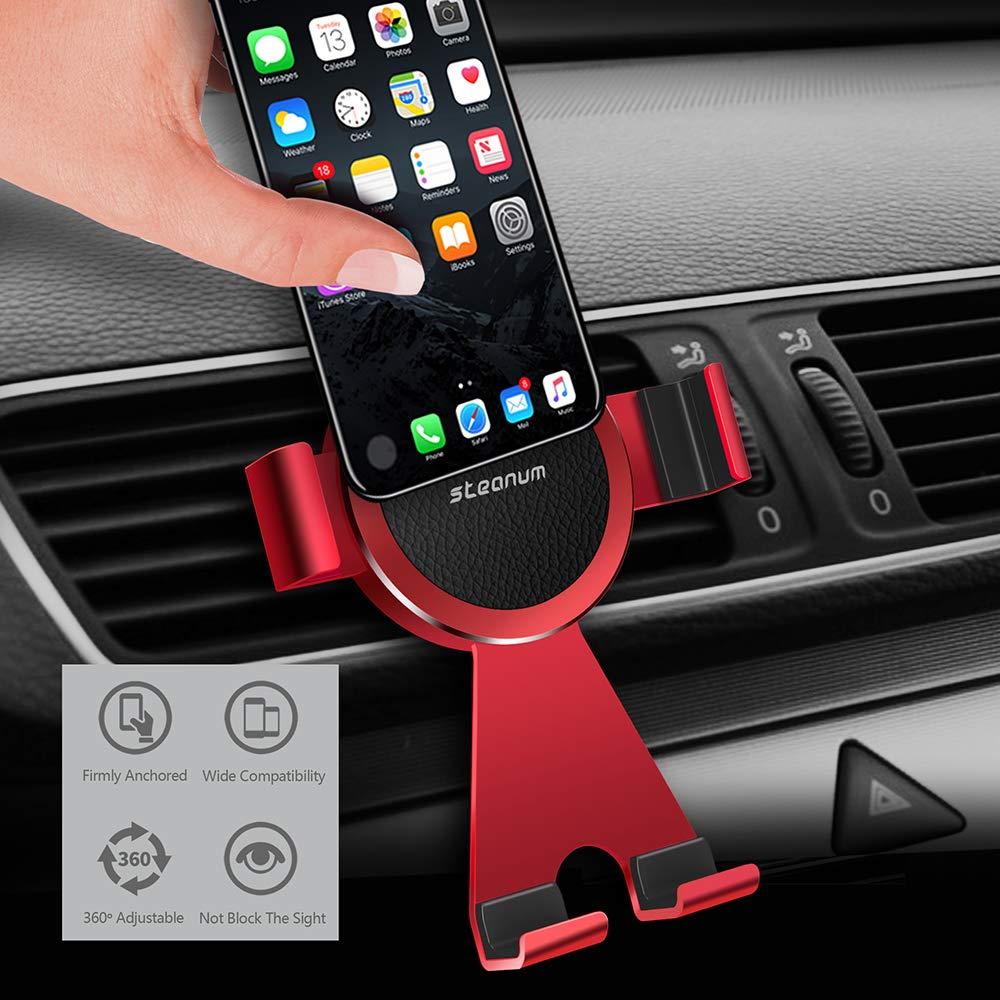 Cell Phone Holder for Car,Steanum Car Phone Mount Air Vent Phone Holder All Metal 360/° Rotation for iPhone Xs Max//Xs//Xr//X//8//7//6,Samsung Galaxy S9//S8//S7,Note 9//8//5,LG,GPS All Devices up to 6.6 Black GPS All Devices up to 6.6 Black