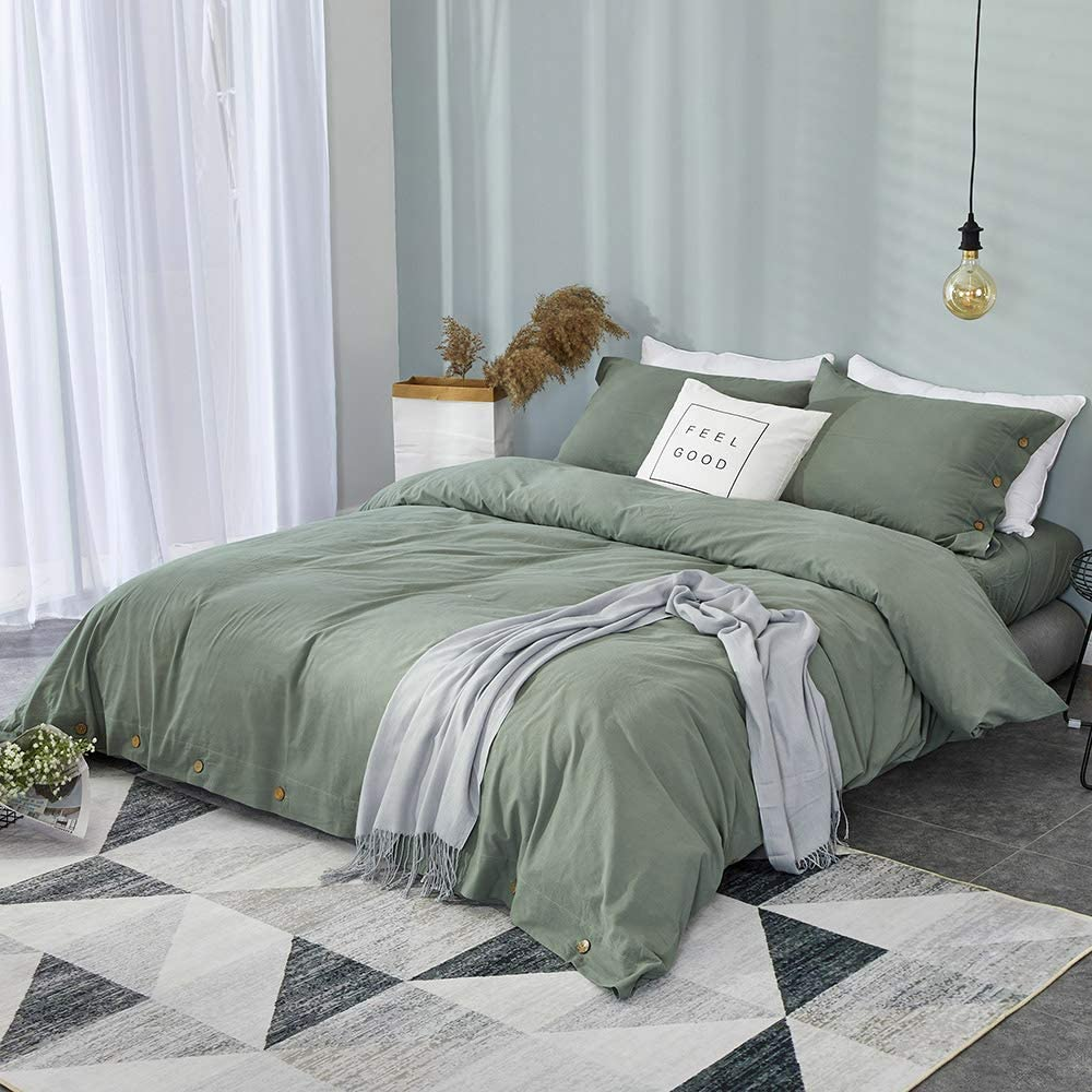 TanNicoor 100/% Natural Cotton Chambray Simple Style Duvet Cover Queen//Full,3pcs Solid Color Ultra Soft Breathable Bedding Set with Button Closure Hypoallergenic,Fade Resistant,White