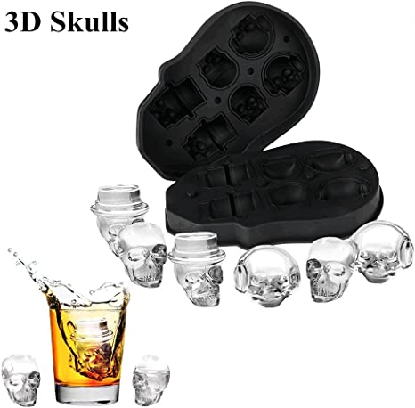 Pack of 1 Makes Four Giant Iced Skulls Easy Release Realistic Skull Ice Cube Maker Black BPA Free 3D Skull Flexible Silicone Ice Cube Mold Tray