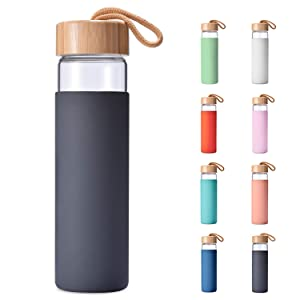 Yomious 20 Oz Borosilicate Glass Water Bottle