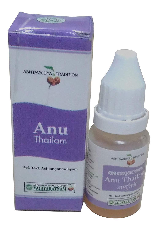 Anu thailam 10ml de aceite–Nasya del Ayurveda Para Sinus Relief–vaidyaratnam oushadhasala Arya Vaidya Sala