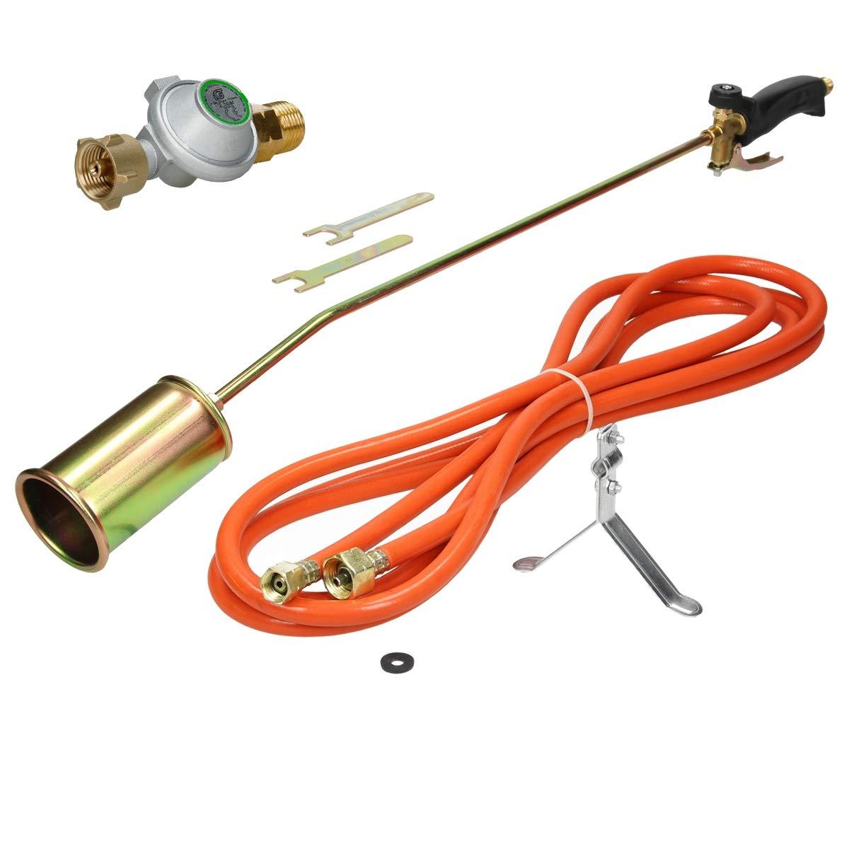 ECD Germany Abflammgerä t - 58 kW Brennleistung - mit 5 m Propangasschlauch und 2, 5 bar Druckminderer- als Unkrautvernichter elektrisch und Dachbrenner