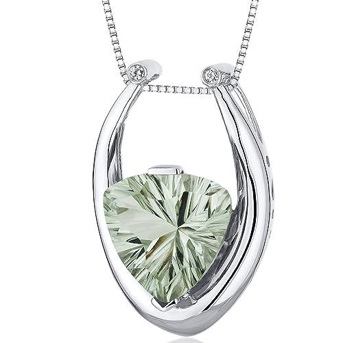 Concave Trillion Cut 5.00 carats Sterling Silver Rhodium Finish Green Amethyst Pendant