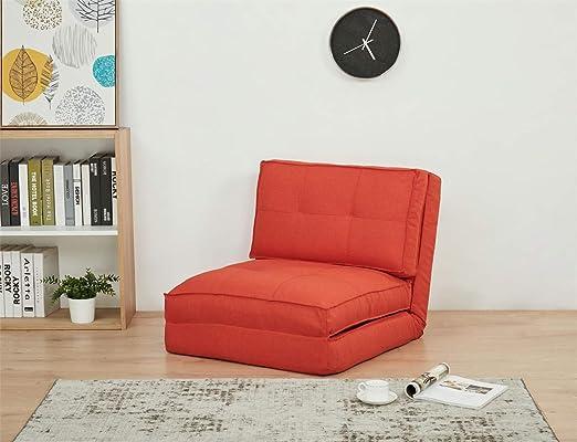 Sillón cama funda de tela rojo grande