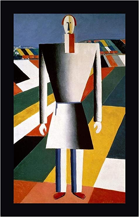 Amazon Com Farmer In The Field By Kazimir Malevich 20 X 30 Black Framed Canvas Art Print Ready To Hang Posters Prints