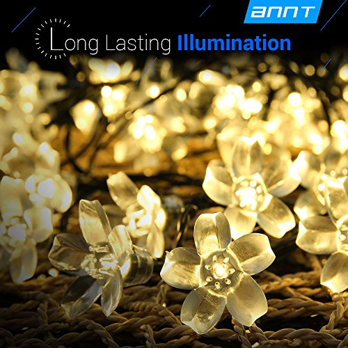 ANNT Warm White Solar Flower Shape String Lights 23ft 7m 50 LED Crystal Lighting Waterproof Lamp Fairy Blossom Flower Garden Holiday Decorative Light Outdoor Indoor Patio Wedding Xmas Tree Party Art Deco Outdoor Lighting