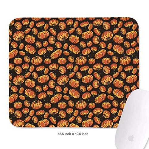 (Cool Cartoon Pumpkin Black Mouse Pad Natural Rubber Excellent Cloth Mousepad Stable No Slip Easy to Clean Office Home Computer Laptop Textured Rectangle Officework 270X320 MM Mouse)