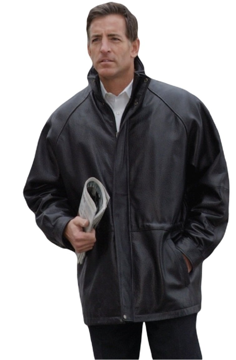 Reed® Men's 34'' Raglan Car Coat in Imported Lamb with Zip-out Lining (5XL, Black)
