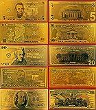#7: Gold Bank Note Set 24k .999 5pc SET by 24k gold leaf banknotes