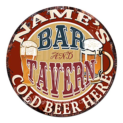(Any Name's BAR and Tavern Cold Beer Here Custom Personalized Chic Tin Sign Rustic Shabby Vintage Style Retro Kitchen Bar Pub Coffee Shop Man cave Decor Gift Ideas)