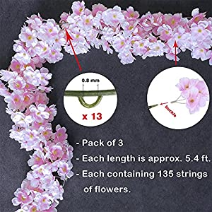 Supla Artificial Cherry Blossom Flower Garlands in Pink 4' Long 2