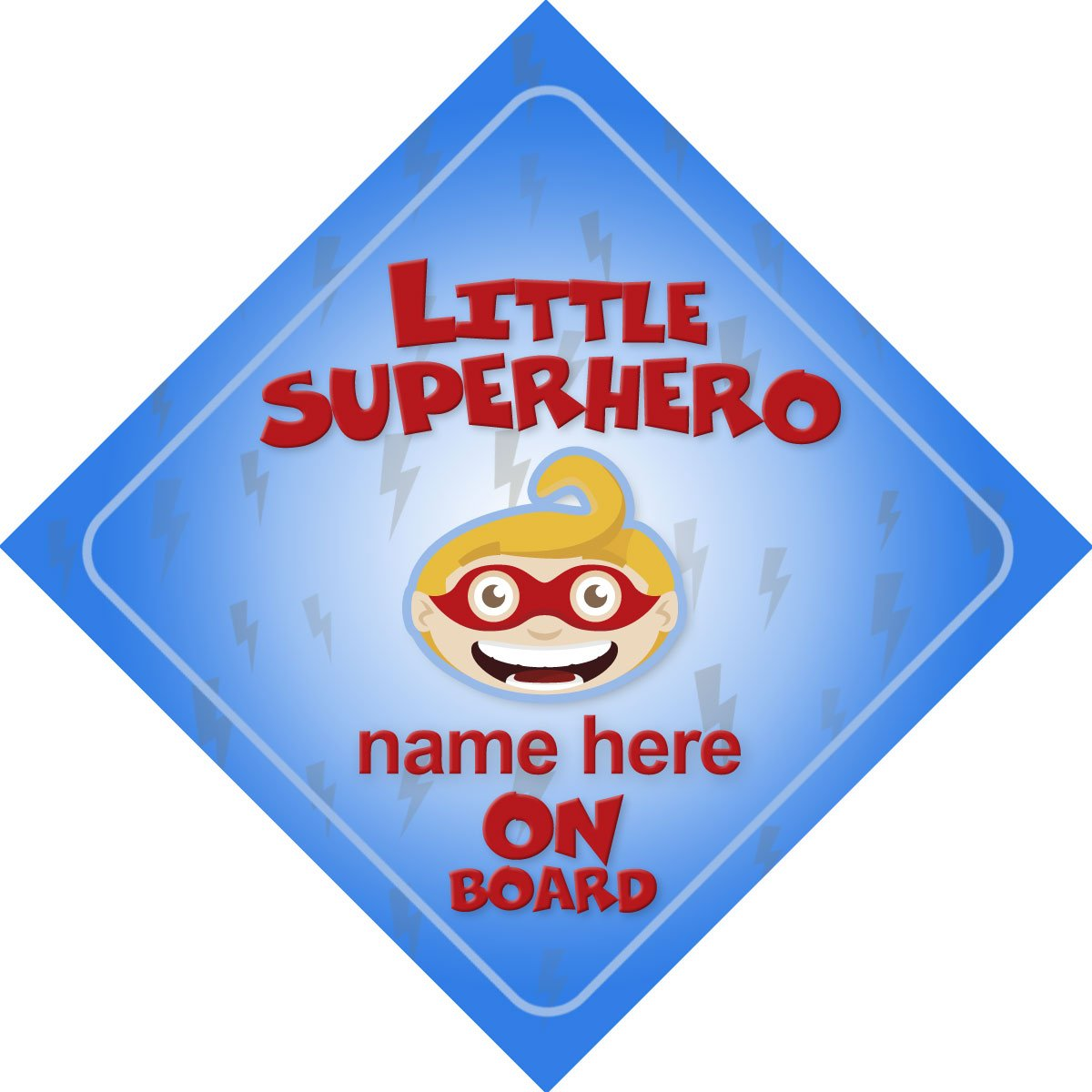 Little Superhero Blue On Board Personalised Car Sign New Baby / Child Gift / Present Quality Goods Ltd
