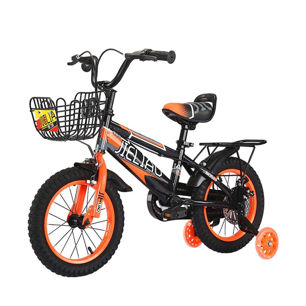 子供用自転車14/16/18インチ子供用ペダル自転車3-6 / 5-8 / 6-9歳の男の子三輪車ディスクブレーキブラックオレンジ ( Size : 18 inches ) B07DXDWS2P