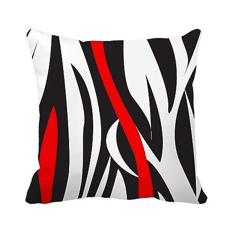 dkisee Wavy vertical rayas rojo negro blanco y gris manta funda de almohada cojín caso 18