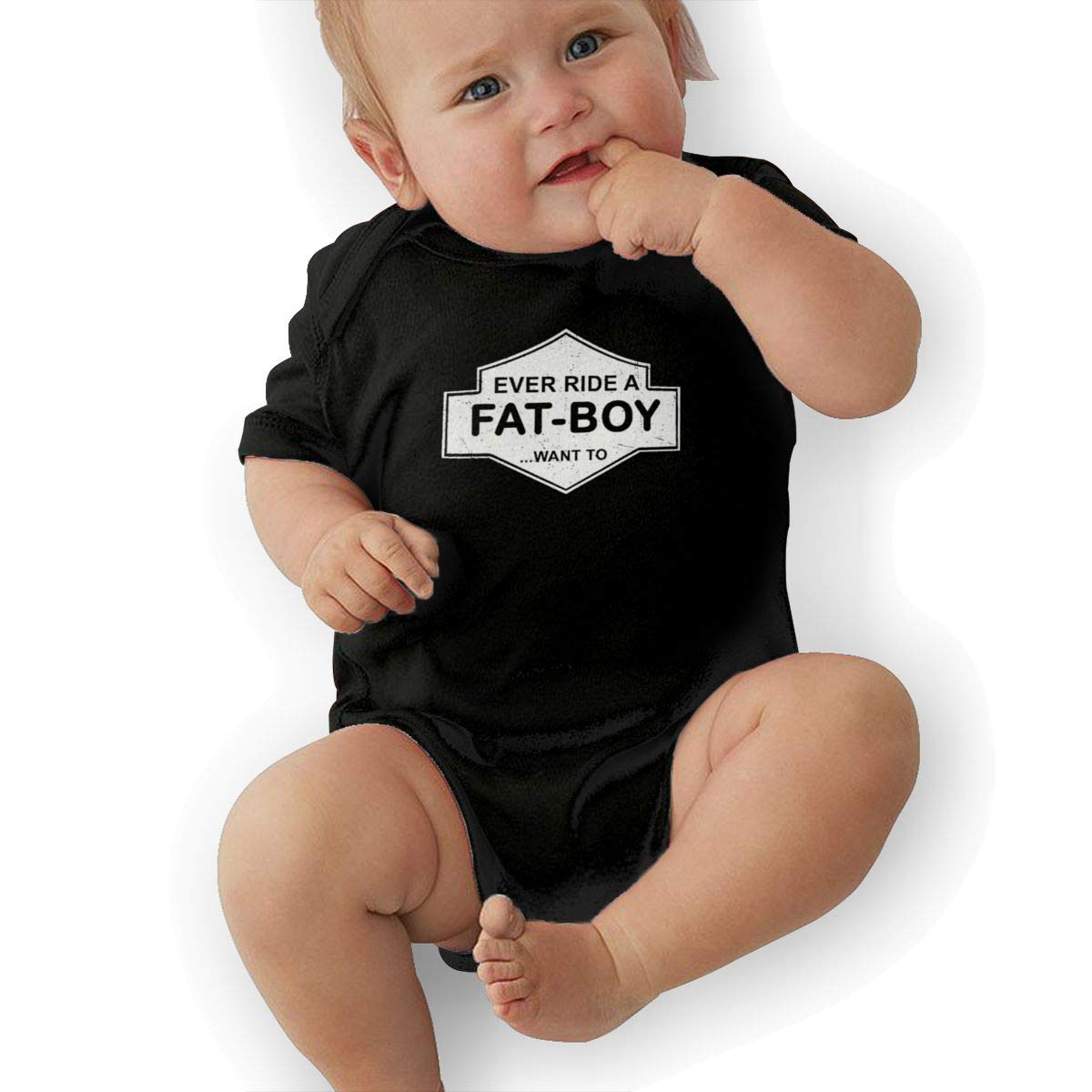 Baby Infant Short Sleeve Romper Ever-Ride-A-Fat-Boy-Want-to Black Bodysuit One-Piece Jumpsuit Outfit