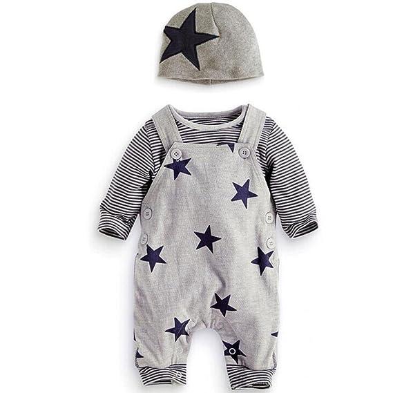 Traje Bebé, LANSKIRT 3PCS para Recién Nacido Bebé Niño Niña Camiseta a Rayas Top + Pantalones de Babero + Sombrero General Conjunto de Trajes: Amazon.es: ...