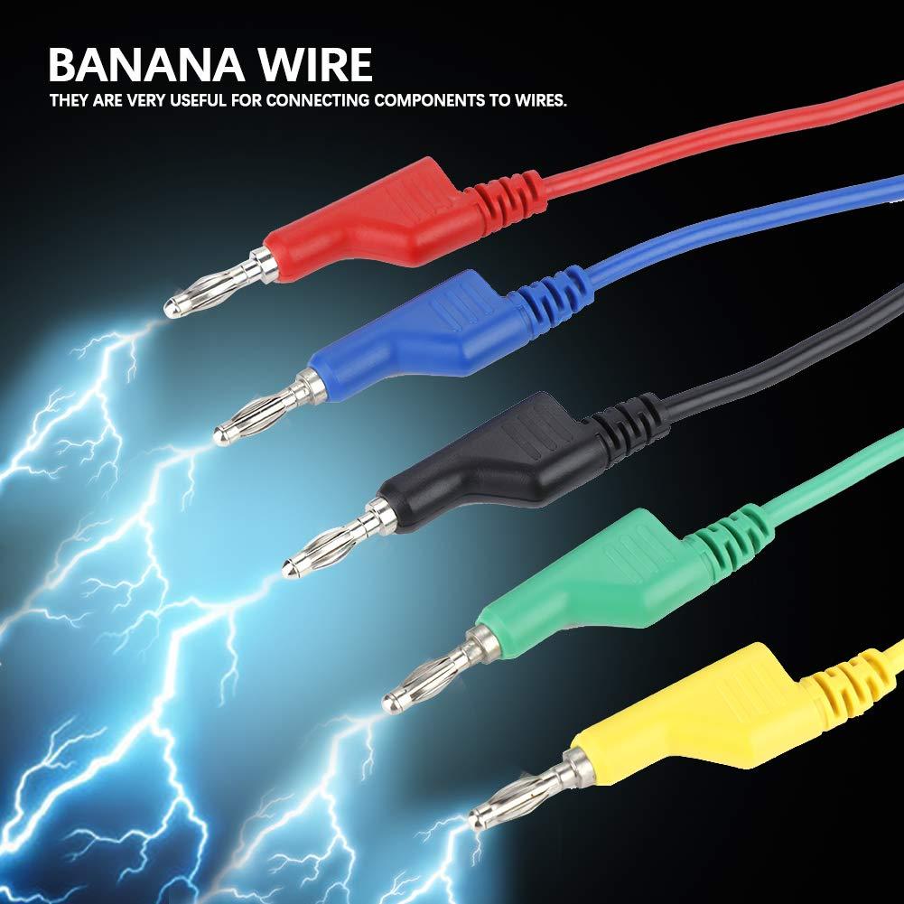 Clip di prova a coccodrillo 5Pcs P1036 Spina a banana 4mm con cavi di prova per multimetro a doppia testa ad alta tensione