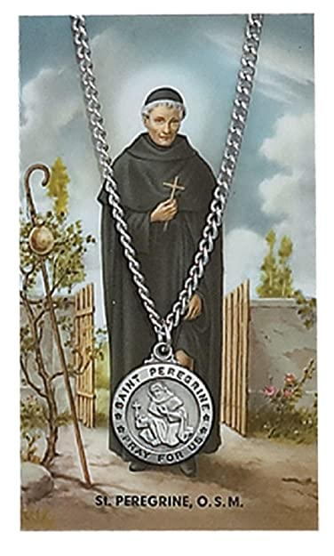 18ee2b7a668 Catholic Saints Necklace for Men or Women, Pewter Silver St. Peregrine  Medal & 24""