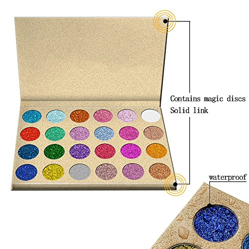 SUNTRIC 24 Color Highly Pigmented Diamond Glitter Rainbow Eye Shadow Palette Flash Shimmer Eyeshadow Make Up Palette by SUNTRIC (Image #5)