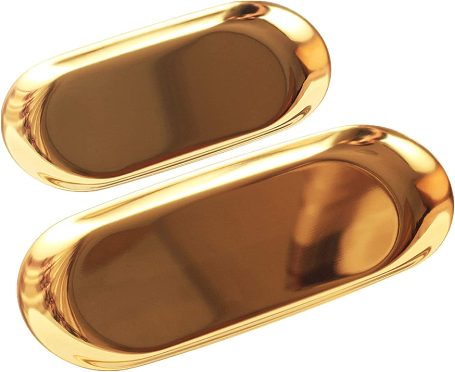 Stainless Steel Towel Tray 2 Pcs Cosmetics Jewelry Organizer Metal Oval Decorative Storage Trays Dish Plate Tea Fruit Candy Food Serving Tray Trinket Tray for Dressers Counter, Gold