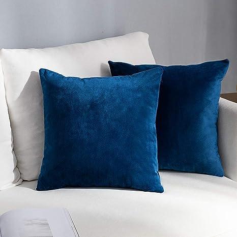 Atlantic Blue Velvet One Pillow Cover 22x 22 Luxurious Thick Velvet Throw Pillow with 1 Flange