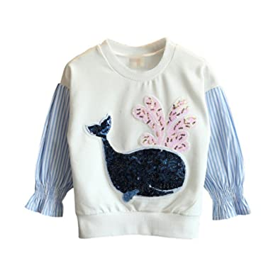 09c68e62c BOBORA Baby Girl s Autumn Sweater Jumper Kids Sequined Whale Motif ...