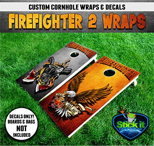 Corn Hole Wrap Set! Fire Fighter V2 First in Last Out 2x Decals (24