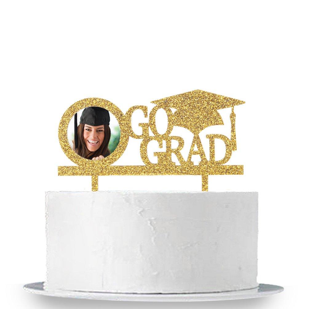 INNORU Go Grad Cake Topper with Photo Frame - Congrats Grad for Graduation Party Decorations